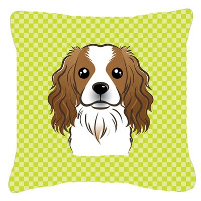 Checkerboard Cavalier Spaniel Indoor/Outdoor Throw Pillow Color: Green, Size: 14 H x 14 W x 4 D