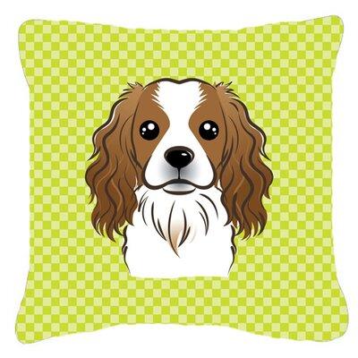 Checkerboard Cavalier Spaniel Indoor/Outdoor Throw Pillow Size: 14 H x 14 W x 4 D, Color: Green