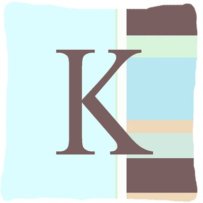Letter Initial Monogram Blue Stripes Indoor/Outdoor Throw Pillow Letter: K