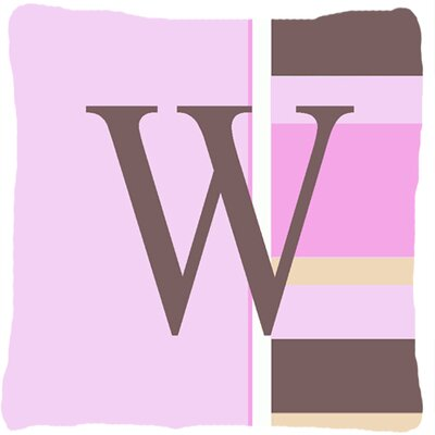 Monogram Initial Pink Stripes Indoor/Outdoor Throw Pillow Letter: W
