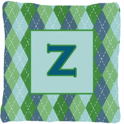 Monogram Initial Blue Argyle Indoor/Outdoor Throw Pillow Letter: Z
