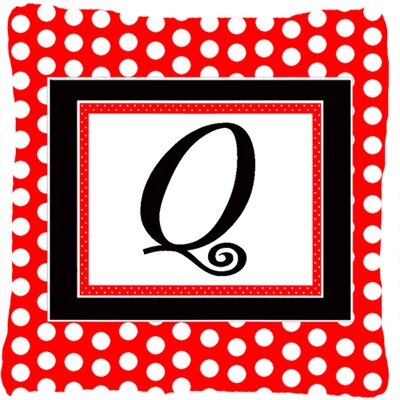 Monogram Initial Red Black Polka Dots Indoor/Outdoor Throw Pillow Letter: Q