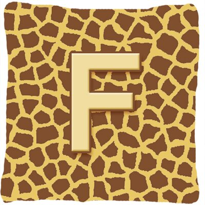 Monogram Initial Giraffe Indoor/Outdoor Throw Pillow Letter: F