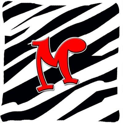 Monogram Initial Zebra Indoor/Outdoor Throw Pillow Letter: M