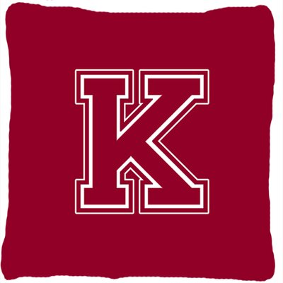 Monogram Initial Maroon and White Indoor/Outdoor Throw Pillow Letter: K