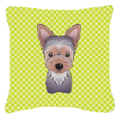 Checkerboard Yorkie Puppy Indoor/Outdoor Throw Pillow Color: Green, Size: 14 H x 14 W x 4 D