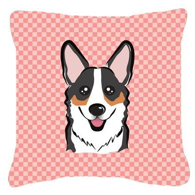 Checkerboard Corgi Indoor/Outdoor Throw Pillow Color: Pink, Size: 14 H x 14 W x 4 D