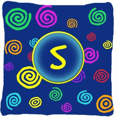 Monogram Initial Blue Swirls Indoor/Outdoor Throw Pillow Letter: S