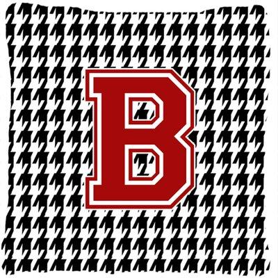 Monogram Initial Houndstooth Indoor/Outdoor Throw Pillow Letter: B