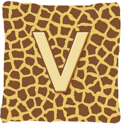 Monogram Initial Giraffe Indoor/Outdoor Throw Pillow Letter: V