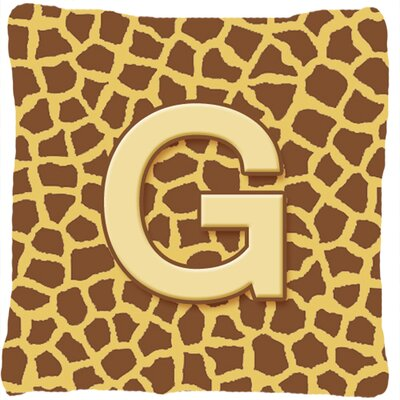 Monogram Initial Giraffe Indoor/Outdoor Throw Pillow Letter: G