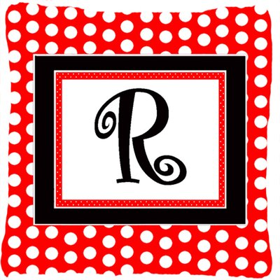 Monogram Initial Red Black Polka Dots Indoor/Outdoor Throw Pillow Letter: R