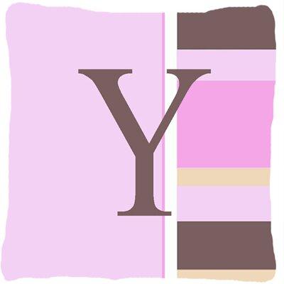Monogram Initial Pink Stripes Indoor/Outdoor Throw Pillow Letter: Y