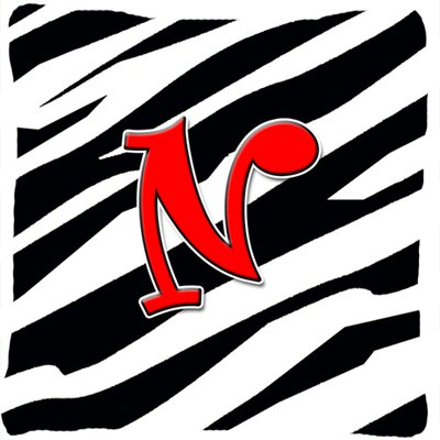 Monogram Initial Zebra Indoor/Outdoor Throw Pillow Letter: N