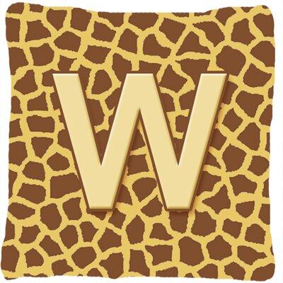 Monogram Initial Giraffe Indoor/Outdoor Throw Pillow Letter: W