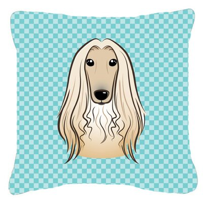 Checkerboard Afghan Hound Indoor/Outdoor Throw Pillow Color: Blue, Size: 18 H x 18 W x 5.5 D