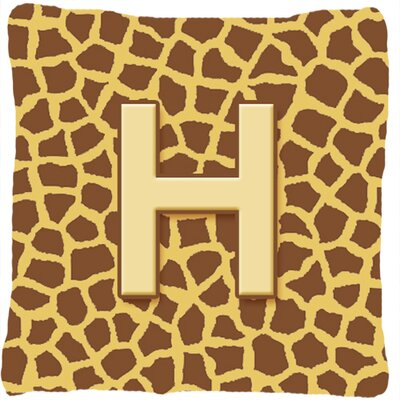 Monogram Initial Giraffe Indoor/Outdoor Throw Pillow Letter: H