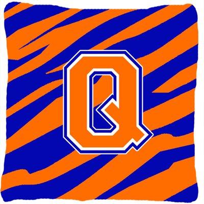 Monogram Initial Tiger Stripe Indoor/Outdoor Throw Pillow Letter: Q