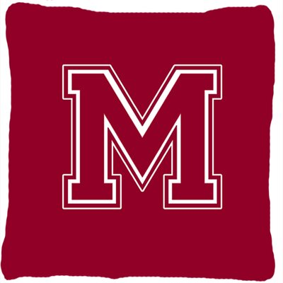 Monogram Initial Maroon and White Indoor/Outdoor Throw Pillow Letter: M