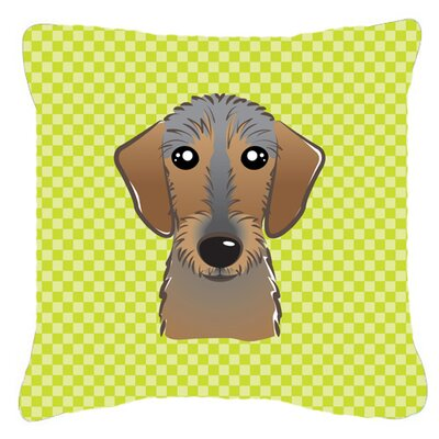Checkerboard Wire Haired Dachshund Indoor/Outdoor Throw Pillow Color: Green, Size: 14 H x 14 W x 4 D