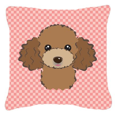 Checkerboard Chocolate Brown Poodle Indoor/Outdoor Throw Pillow Color: Pink, Size: 14 H x 14 W x 4 D