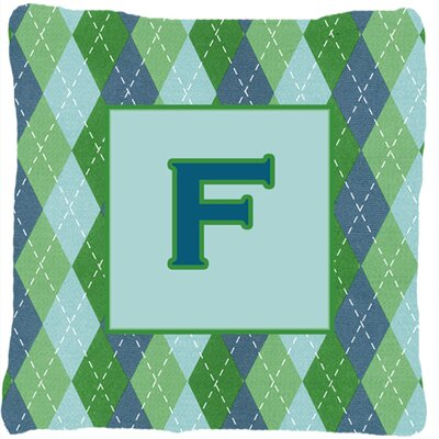 Monogram Initial Blue Argyle Indoor/Outdoor Throw Pillow Letter: F