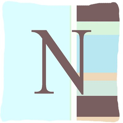 Letter Initial Monogram Blue Stripes Indoor/Outdoor Throw Pillow Letter: N