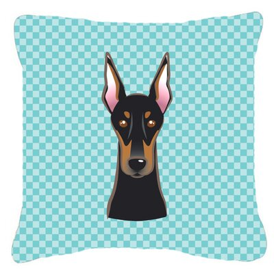 Checkerboard Doberman Indoor/Outdoor Throw Pillow Color: Blue, Size: 14 H x 14 W x 4 D