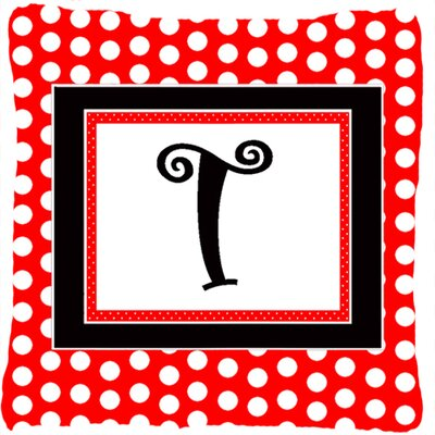 Monogram Initial Red Black Polka Dots Indoor/Outdoor Throw Pillow Letter: T