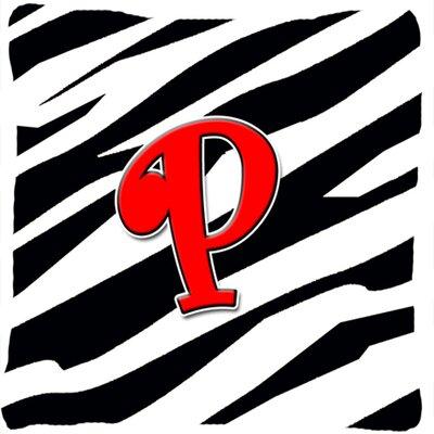 Monogram Initial Zebra Indoor/Outdoor Throw Pillow Letter: P