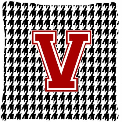 Monogram Initial Houndstooth Indoor/Outdoor Throw Pillow Letter: V