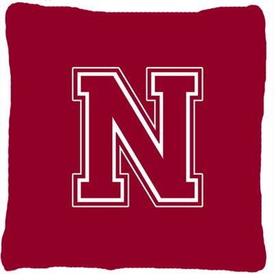 Monogram Initial Maroon and White Indoor/Outdoor Throw Pillow Letter: N