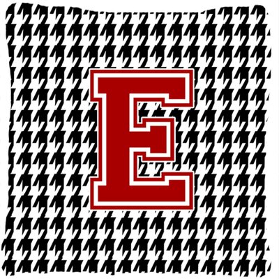 Monogram Initial Houndstooth Indoor/Outdoor Throw Pillow Letter: E