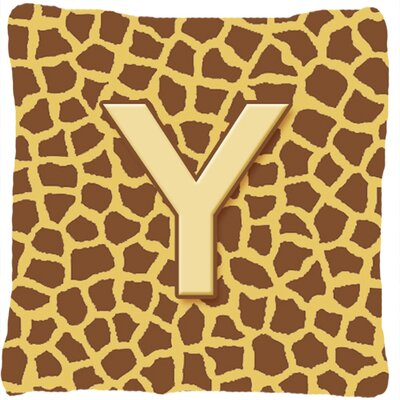 Monogram Initial Giraffe Indoor/Outdoor Throw Pillow Letter: Y