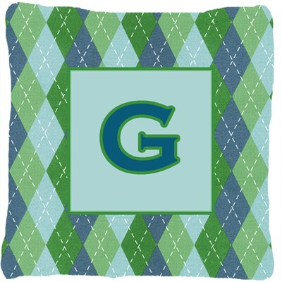 Monogram Initial Blue Argyle Indoor/Outdoor Throw Pillow Letter: G