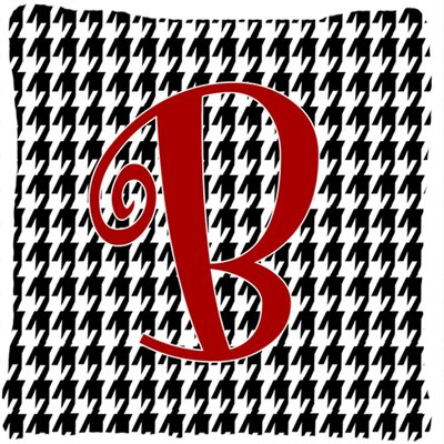 Monogram Initial Houndstooth Black Indoor/Outdoor Throw Pillow Letter: B