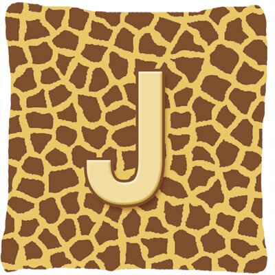 Monogram Initial Giraffe Indoor/Outdoor Throw Pillow Letter: J