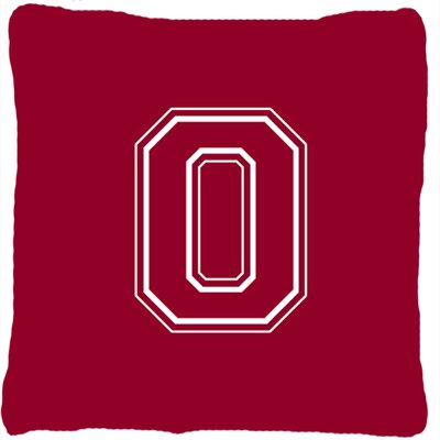 Monogram Initial Maroon and White Indoor/Outdoor Throw Pillow Letter: O