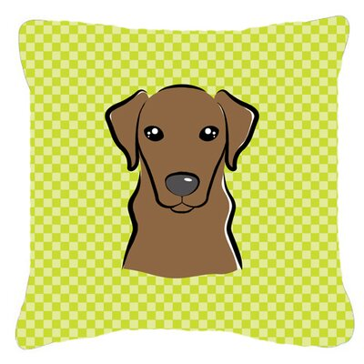 Checkerboard Chocolate Labrador Indoor/Outdoor Throw Pillow Color: Green, Size: 14 H x 14 W x 4 D