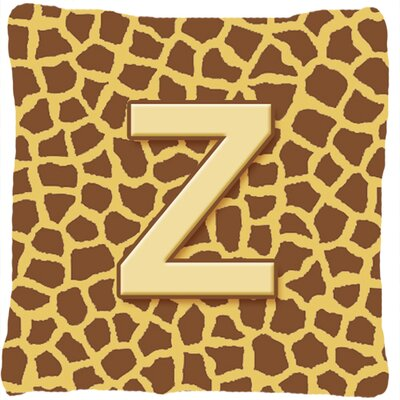 Monogram Initial Giraffe Indoor/Outdoor Throw Pillow Letter: Z