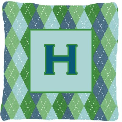 Monogram Initial Blue Argyle Indoor/Outdoor Throw Pillow Letter: H