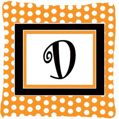 Monogram Initial Orange Polkadots Indoor/Outdoor Throw Pillow Letter: D