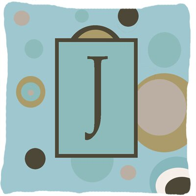 Monogram Initial Blue Dots Indoor/Outdoor Throw Pillow Letter: J