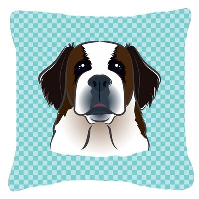 Checkerboard Saint Bernard Indoor/Outdoor Throw Pillow Color: Blue, Size: 14 H x 14 W x 4 D