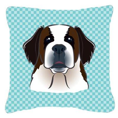 Checkerboard Saint Bernard Indoor/Outdoor Throw Pillow Color: Blue, Size: 14 H x 14 W x 4 D