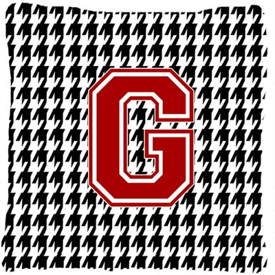 Monogram Initial Houndstooth Indoor/Outdoor Throw Pillow Letter: G