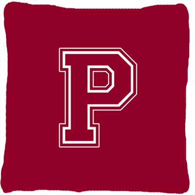 Monogram Initial Maroon and White Indoor/Outdoor Throw Pillow Letter: P