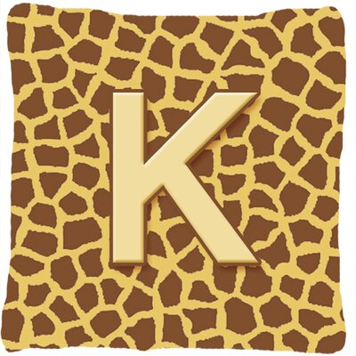 Monogram Initial Giraffe Indoor/Outdoor Throw Pillow Letter: K