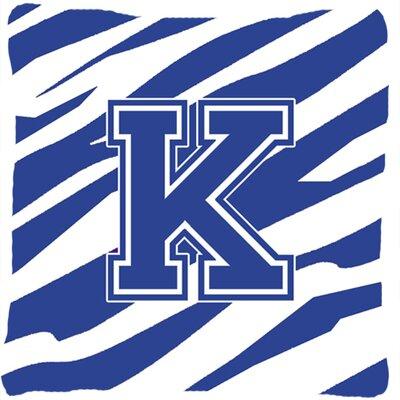 Monogram Initial Tiger Stripe Indoor/Outdoor Throw Pillow Letter: K