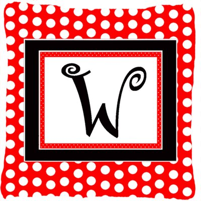 Monogram Initial Red Black Polka Dots Indoor/Outdoor Throw Pillow Letter: W